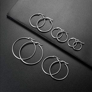 Jewelry - 5 Pairs Stainless Steel Hoop Earrings brand new!